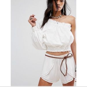 FREE PEOPLE annabelle white one shoulder blouse